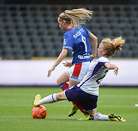 20190813 - ANDERLECHT, BELGIUM : Anderlecht's Charlotte Tison (R) and Linfield's Rebecca Bassett (L)  pictured during the female soccer game between the Belgian RSCA Ladies – Royal Sporting Club Anderlecht Dames  and the Northern Irish Linfield ladies FC , the third and final game for both teams in the Uefa Womens Champions League Qualifying round in group 8 , Tuesday 13 th August 2019 at the Lotto Park Stadium in Anderlecht  , Belgium  .  PHOTO SPORTPIX.BE   DIRK VUYLSTEKE