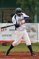 17 October 2010: Tim Stewart of Savigny is seen at bat during Rouen 10-5 win over Savigny, during game 2 of the French championship finals, in Savigny sur Orge, France.