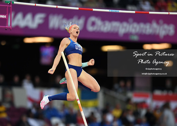 Sandi Morris (USA) in the womens pole vault. IAAF world athletics championships. London Olympic stadium. Queen Elizabeth Olympic park. Stratford. London. UK. 06/08/2017. ~ MANDATORY CREDIT Garry Bowden/SIPPA - NO UNAUTHORISED USE - +44 7837 394578