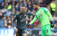 Leicester City's James Maddison and Huddersfield Town's goalkeeper Ben Hamer <br /> <br /> Photographer Stephen White/CameraSport<br /> <br /> The Premier League - Huddersfield Town v Leicester City - Saturday 6th April 2019 - John Smith's Stadium - Huddersfield<br /> <br /> World Copyright © 2019 CameraSport. All rights reserved. 43 Linden Ave. Countesthorpe. Leicester. England. LE8 5PG - Tel: +44 (0) 116 277 4147 - admin@camerasport.com - www.camerasport.com