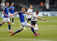 4th July 2020; Craven Cottage, London, England; English Championship Football, Fulham versus Birmingham City; Anthony Knockaert of Fulham taking a shot past Kristian Pedersen of Birmingham City