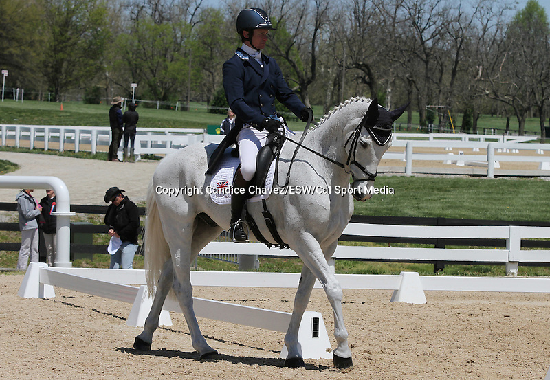 April 23, 2015:  #32 Easy Target and Francis Whittington warm up before competing on the first day of Dressage at the Rolex Three Day Event at the Kentucky Horse Park in Lexington, KY.  Candice Chavez/ESW/CSM
