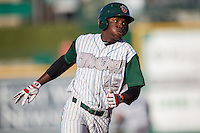 Fort Wayne TinCaps shortstop Ruddy Giron (12) runs to third base against the West Michigan Whitecaps on May 23, 2016 at Parkview Field in Fort Wayne, Indiana. The TinCaps defeated the Whitecaps 3-0. (Andrew Woolley/Four Seam Images)