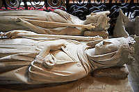 Medieval tomb of, rear, Carloman (751 - 771), King of Burgundy and Austria, son of Pepin le Bref and brother of Charlemagne, and his wife Ermentrude (825 - 869).  The Gothic Cathedral Basilica of Saint Denis ( Basilique Saint-Denis ) Paris, France.