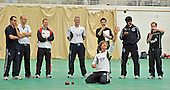 "While his usual ""pupil"" Matt Prior is taking part in the Ashes series in Australia, England wicket-keeping coach Bruce French, kneeling, works on cricket techniques with coaches as part of the European ECB Level 3 Coaching Course 2011 at the Scotland National Cricket Academy, Edinburgh, hosted for the first by Cricket Scotland. Nineteen coaches from all over Europe, including six from Scotland, are at the Mary Erskine Cricket Centre for a week, under the auspices of the Pepsi ICC Development Programme, to be taken through coaching routines as part of their education programme leading the ECB Level 3 Qualification exams later in this year - Picture by Donald MacLeod 06.01.11 - mobile 07702 319 738 - clanmacleod@btinternet.com"