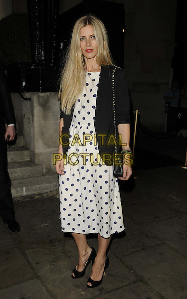 Laura Bailey.Quintessentially Awards held at One Marylebone - Arrivals, London, England..28th September 2011.full length black white polka dot dress blazer blue  .CAP/CAN.©Can Nguyen/Capital Pictures.