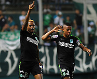PALMIRA - COLOMBIA, 02-05-2018: Gustavo Torres (Izq) jugador de Atlético Nacional celebra después de anotar un gol a Deportivo Cali durante partido por la fecha 14 de la Liga Águila II 2017 jugado en el estadio Palmaseca de la ciudad de Palmira. / Gustavo Torres (L) player of Atletico Nacional celebrates after scoring a goal to Deportivo Cali during match for the date 14 of the Aguila League II 2017 played at Palmaseca stadium in Palmira city.  Photo: VizzorImage/ Nelson Rios / Cont