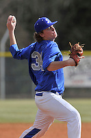 Pitcher Lucas Coan (34) of the Spartanburg Methodist College Pioneers delivers a pitch in a junior college game against Surry Community College on January 31, 2016, at Mooneyham Field in Spartanburg, South Carolina. (Tom Priddy/Four Seam Images)