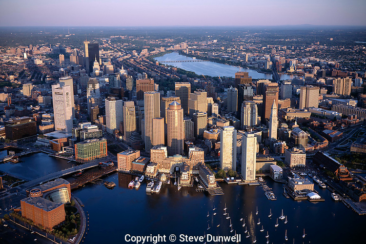 waterfront harbor aerial view, Boston, MA