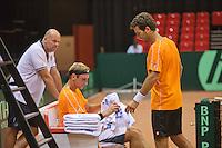 09-09-13,Netherlands, Groningen,  Martini Plaza, Tennis, DavisCup Netherlands-Austria, DavisCup,   Thiemo de Bakker and coach Raymond Knaap (NED) (L) jean-Julien Rojer (R)<br /> Photo: Henk Koster