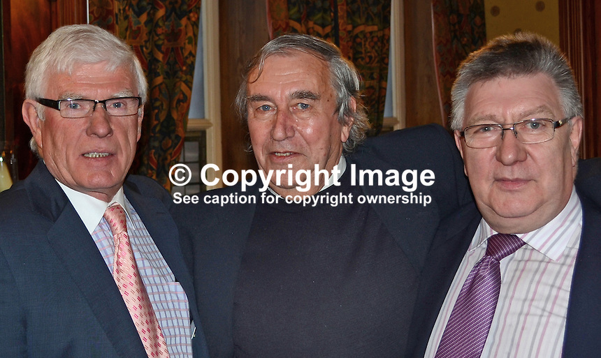Neil Johnston Memorial Lunch, Ulster Reform Club, Belfast, N Ireland, 30th November 2012, informal group of friends and former colleagues, L to R Raymond Managh, Michael Drake, Don McAleer201211301014..Copyright Image from Victor Patterson, 54 Dorchester Park, Belfast, UK, BT9 6RJ..Tel: +44 28 9066 1296.Mob: +44 7802 353836.Voicemail +44 20 8816 7153.Skype: victorpattersonbelfast.Email: victorpatterson@me.com.Email: victorpatterson@ireland.com (back-up)..IMPORTANT: If you wish to use this image or any other of my images please go to www.victorpatterson.com and click on the Terms & Conditions. Then contact me by email or phone with the reference number(s) of the image(s) concerned.