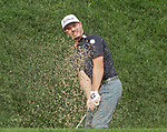 Cromwell, CT-21 JUNE 21 2018-062119MK05  Bronson Burgoon hits out of the bunker on the 18th green Friday afternoon during the second round of the 2019 Travelers Championship at the TPC River Highlands in Cromwell. Burgoon would double bogey the par four hole. Michael Kabelka / Republican-American