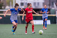 Allston, MA - Sunday, May 1, 2016:  Boston Breakers midfielder Angela Salem (26) and Portland Thorns FC midfielder Meleana Shim (6) in a match at Harvard University.