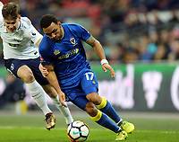 Andy Barcham of AFC Wimbledon and Juan Foyth of Tottenham during Tottenham Hotspur vs AFC Wimbledon, Emirates FA Cup Football at Wembley Stadium on 7th January 2018