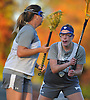 Erin Smith #21 of New York Institute of Technology, right, guards teammate #22 Katie Meinecke during women's lacrosse team practice on NYIT's campus in Old Westbury on Wednesday, Oct. 19, 2016.