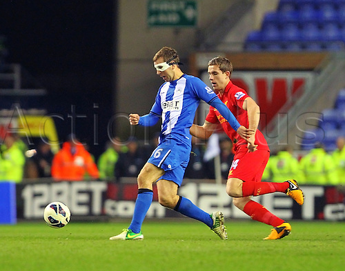 02.03.2013 Wigan, England. James McArthur of Wigan Athletic in action during the Premier League game between Wigan Athletic and Liverpool at the DW Stadium.