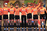 The Netherlands at sign on for the start of the Women Elite Road Race of the UCI World Championships 2019 running 149.4km from Bradford to Harrogate, England. 28th September 2019.<br /> Picture: Eoin Clarke | Cyclefile<br /> <br /> All photos usage must carry mandatory copyright credit (© Cyclefile | Eoin Clarke)