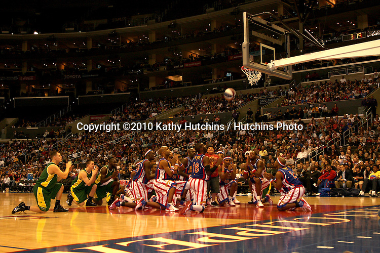 Big Easy, Rico Rodriguez, and Flight Time, Globetrotters.at the Harlem Globetrotters Game .Staples Center.Los Angeles, CA.February 14, 2010.©2010 Kathy Hutchins / Hutchins Photo....