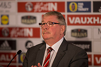 FAW president David Griffiths during a press conference unveiling Ryan Giggs as the new Wales National team Manager at Hensol Castle, Vale of Glamoran, on 15 January 2018. Photo by Mark Hawkins.