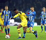 16.03.2019, OLympiastadion, Berlin, GER, DFL, 1.FBL, Hertha BSC VS. Borussia Dortmund, <br /> DFL  regulations prohibit any use of photographs as image sequences and/or quasi-video<br /> <br /> im Bild Vedad Ibisevic (Hertha BSC Berlin #19), Dan-Axel Zagadou (Borussia Dortmund #2)<br /> <br />       <br /> Foto &copy; nordphoto / Engler