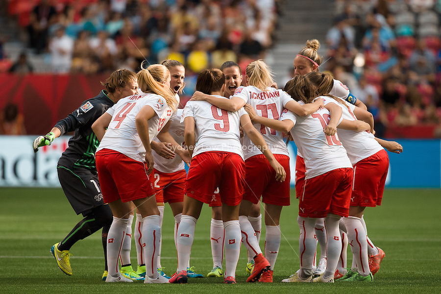 June 8, 2015:  The Swiss team prepare for the Group C match at the FIFA Women's World Cup Canada 2015 between Japan and Switzerland at BC Place Stadium on 8 June 2015 in Vancouver, Canada. Sydney Low/AsteriskImages