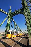 Trams on the Liberty or Freedom Bridge (Szabadság híd,). Budapest, Hungary