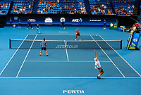 5th January 2020; RAC Arena, Perth, Western Australia; ATP Cup Australia, Perth, Day 3; Italy versus Norway; Simone Bolelli of Italy serves to Casper Ruud of Norway during the doubles - Editorial Use