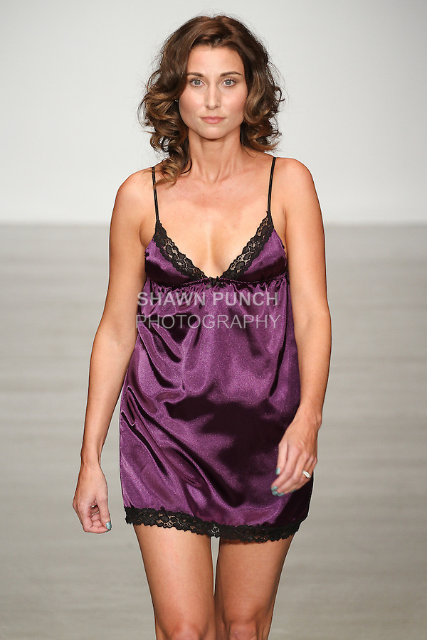 Model walks runway in lingerie from the Bella Petite collection by Stephanie Ballard, for the Lingerie Fashion Week SS15 Official Closing Show, during LingerieFW Spring Summer 2015.