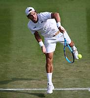 Feliciano Lopez (ESP) during his match against Juan Martin Del Potro (ARG) <br /> <br /> Photographer Rob Newell/CameraSport<br /> <br /> Wimbledon Lawn Tennis Championships - Day 4 - Thursday 5th July 2018 -  All England Lawn Tennis and Croquet Club - Wimbledon - London - England<br /> <br /> World Copyright &not;&copy; 2017 CameraSport. All rights reserved. 43 Linden Ave. Countesthorpe. Leicester. England. LE8 5PG - Tel: +44 (0) 116 277 4147 - admin@camerasport.com - www.camerasport.com