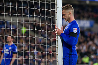 Joe Bennett of Cardiff City takes a moment to rue shooting wide when through on goal during the Sky Bet Championship match between Cardiff City and Wolverhampton Wanderers at the Cardiff City Stadium, Cardiff, Wales on 6 April 2018. Photo by Mark  Hawkins / PRiME Media Images.