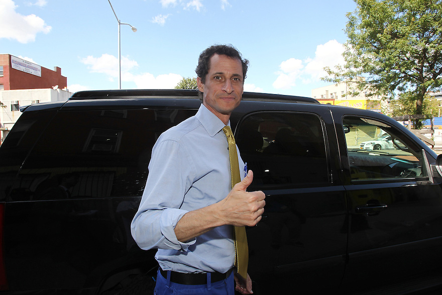 Anthony Weiner is seen leaving Milk River restaurant after meeting with Caribbean small business on Sunday, August 4, 2013 in Brooklyn, New York. (AP Photo/ Donald Traill)