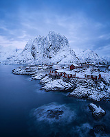 Classic winter view of small island of Hamnøy, Reine, Moskenesøy, Lofoten Islands, Norway
