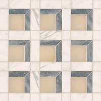 Paseo, a handmade mosaic shown in polished Cream Onyx, honed Allure, and honed Calacatta, is part of the Illusions™ collection by Sara Baldwin and Paul Schatz for New Ravenna.