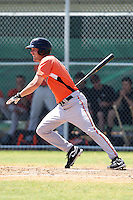 Baltimore Orioles minor league player Kipp Schutz #15 during a spring training game vs the Boston Red Sox at the Buck O'Neil Complex in Sarasota, Florida;  March 22, 2011.  Photo By Mike Janes/Four Seam Images