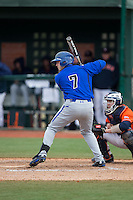 Kyle Grimm (7) of the Seton Hall Pirates at bat against the Virginia Cavaliers at The Ripken Experience on February 28, 2015 in Myrtle Beach, South Carolina.  The Cavaliers defeated the Pirates 4-1.  (Brian Westerholt/Four Seam Images)