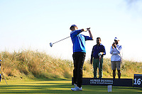 David Simon (AM) on the 16th tee during Round 1 of the 2015 Alfred Dunhill Links Championship at Kingsbarns in Scotland on 1/10/15.<br /> Picture: Thos Caffrey | Golffile