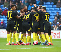 29th February 2020; Cardiff City Stadium, Cardiff, Glamorgan, Wales; English Championship Football, Cardiff City versus Brentford; Brentford players celebrate after taking the early lead in minute 6 for 0-1