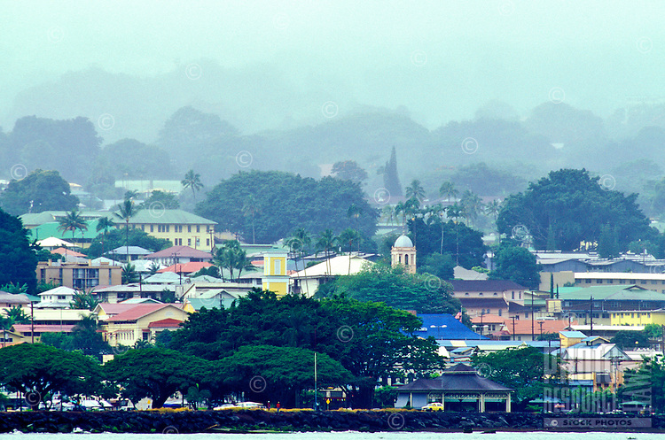View from the water of Hilo town on the big island.