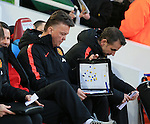 Manchester United's Louis Van Gaal with his tactics board<br /> <br /> Barclays Premier League- West Ham United vs Manchester United  - Upton Park - England - 8th February 2015 - Picture David Klein/Sportimage