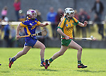 Ann Marie Hayes of Newmarket in action against Teresa O Keeffe of Inagh-Kilnamona during their senior county final in Clarecastle. Photograph by John Kelly.