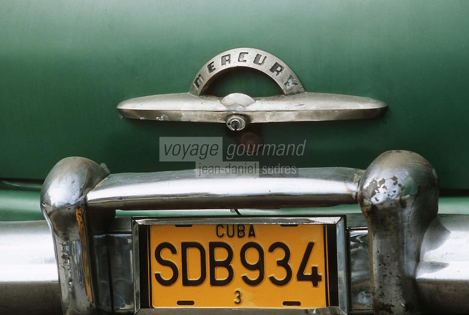 Cuba/La Havane: Détail vieilles voitures américaines sur le Malecon - Coffre