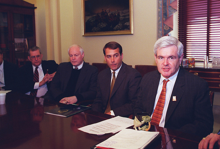 3/11/98.FINANCIAL SERVICES BILL--Speaker of the house Newt Gingrich,R-Ga., holds a press conference in his office on the Financial services Bill..CONGRESSIONAL QUARTERLY PHOTO BY DOUGLAS GRAHAM