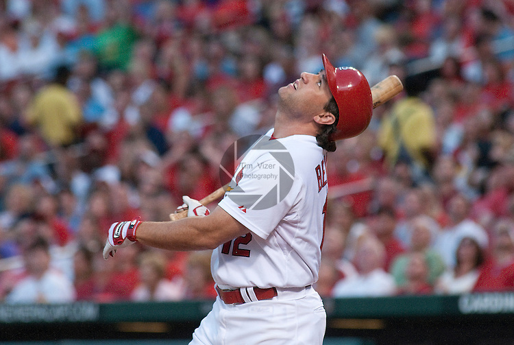 24 June 2011                                 St. Louis Cardinals right fielder Lance Berkman (12) watches his ball pop up. The Toronto Blue Jays defeated the St. Louis Cardinals 5-4 in the first game of a three-game inter-league series on Friday June 24, 2011 at Busch Stadium in downtown St. Louis.
