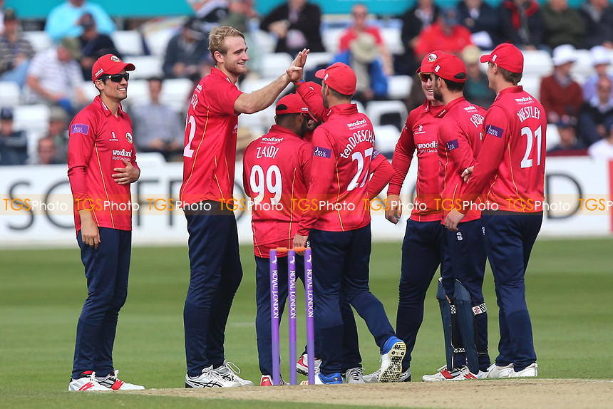 Paul Walter of Essex is congratulated by his team mates after taking the wicket of James Franklin during Essex Eagles vs Middlesex, Royal London One-Day Cup Cricket at The Cloudfm County Ground on 12th May 2017