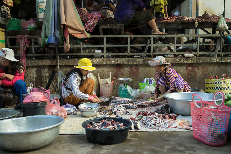April 12, 2014 - Kratie (Cambodia). Fish is sold at the local market of Kratie. © Thomas Cristofoletti / Ruom