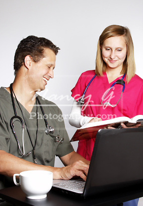 Two medical students studying together