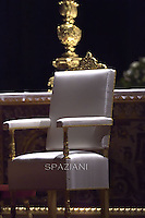 Papal Thrones;Pope Francis, during the Easter vigil mass in Saint Peter's Basilica, in the Vatican,.April 4,2015