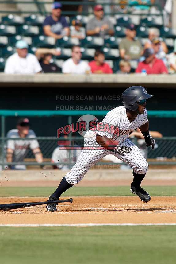 "Charleston Riverdogs outfielder Matt McPhearson (1) at bat during a game against the Hickory Crawdads at the Joseph P. Riley Ballpark in Charleston, South Carolina. For Sunday games, the Riverdogs wear their ""Holy City"" uniforms in honor of the city's nickname. Hickory defeated Charleston 8-7. (Robert Gurganus/Four Seam Images)"