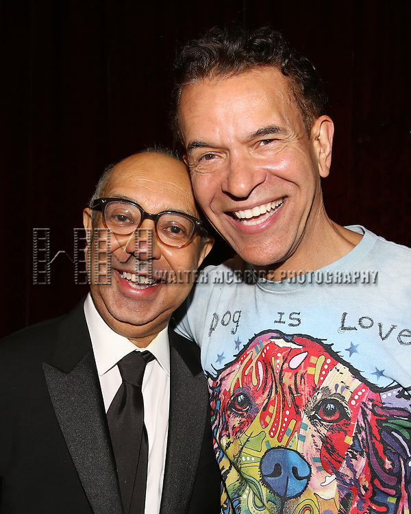 George C. Wolfe and Brian Stokes Mitchell during the Actors' Equity Opening Night Gypsy Robe Ceremony honoring Arbender Robinson for 'Shuffle Along' at The Music Box Theatre on April 28, 2016 in New York City.