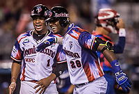 Junior Lake celebra el HomeRun numero 1000 en la historia de las  Series del Caribe.<br /> <br /> .<br /> Partido de beisbol de la Serie del Caribe con el encuentro entre los Alazanes de Gamma de Cuba contra las &Aacute;guilas Cibae&ntilde;as de Republica Dominicana en estadio Panamericano en Guadalajara, M&eacute;xico, Lunes 5 feb 2018. <br /> (Foto: Luis Gutierrez)<br /> <br /> .<br /> Baseball game of the Caribbean Series with the match between the Gamma Alazanes of Cuba against the Cibae&ntilde;as Eagles of the Dominican Republic at the Pan American Stadium in Guadalajara, Mexico, Monday, Feb. 5, 2018.<br /> (Photo: Luis Gutierrez)